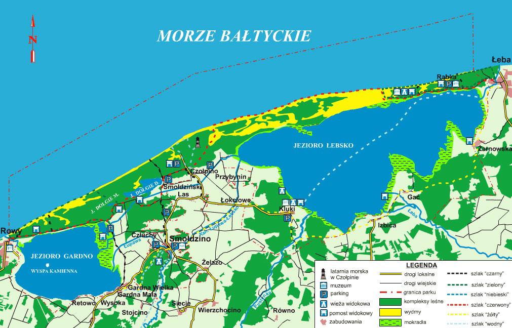 Mapa Wybrzeże Słowińskie